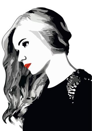 sketch: portrait of a girl vector illustration