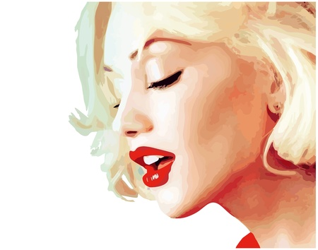tatouage visage: blond portrait d'une illustration vectorielle fille