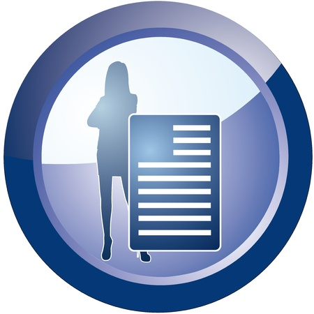 vector button business woman with documents Stock Vector - 18512621