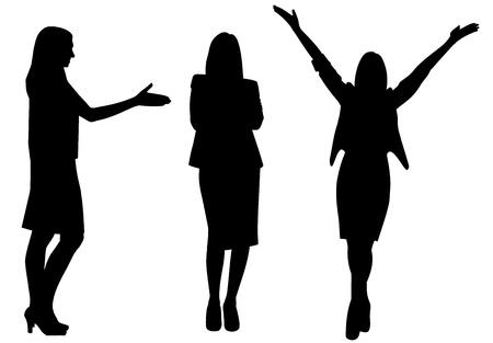 siluetas mujeres: mujer de negocios silueta ilustraci�n vectorial aislado Vectores