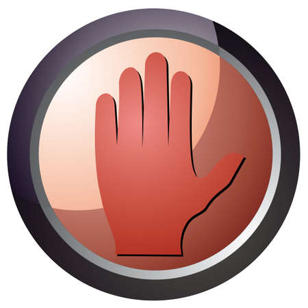 vector stop button in red color illustration Stock Vector - 18512612