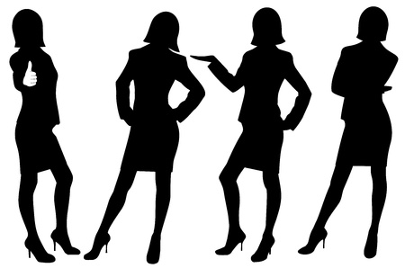woman computer: Silhouette illustration of business ladies isolated