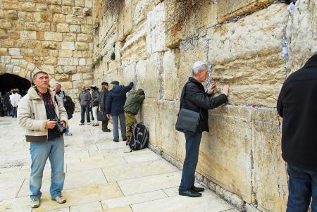 wailing: praying at the Wailing Wall Jerusalem day