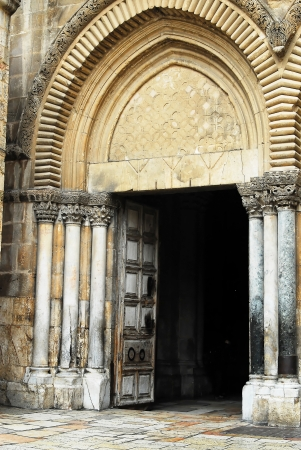 entrance to the temple of the Holy Sepulchre in Jerusalem