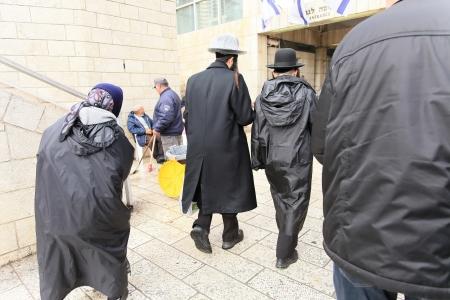 wailing: believers going to the Wailing Wall Jerusalem
