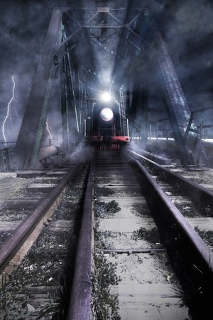 photomanipulation: train rides over the bridge, photomanipulation