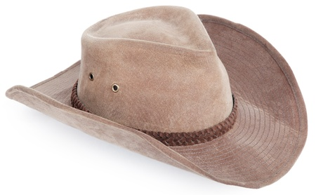 brown leather hat: cowboy hat closeup, isolated background Stock Photo