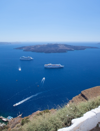 views from the shores of Greek islands of Santorini