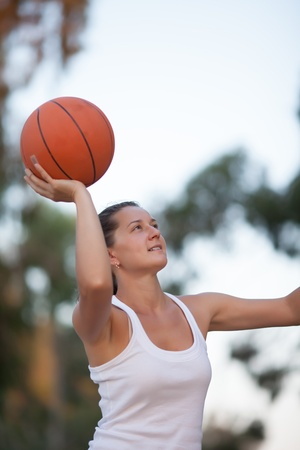 girl plays basketball, a healthy lifestyle photo