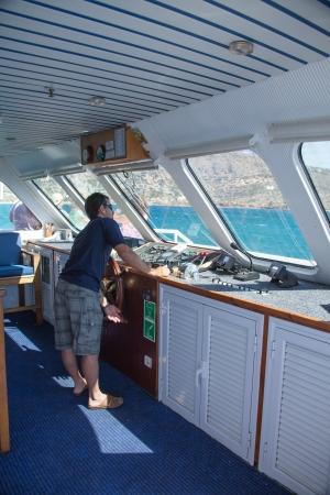 SANTORINI  GREECE - 4 JULY 2012: view from inside the workplace skipper floating transport 4 july 2012 Santorini.