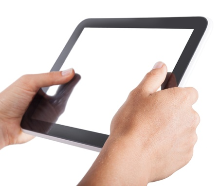 digital tablet technology in the hands of the user photo