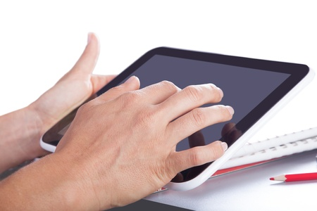 tablet in the hands of modern digital technology photo