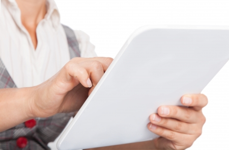 white tablet in the hands of modern digital technology photo