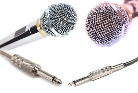 microphones and connectors isolated white background photo
