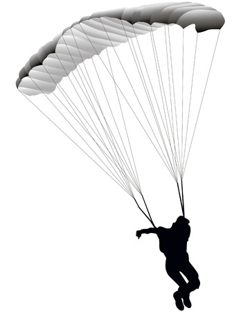 illustration paratrooper jumping on a white background