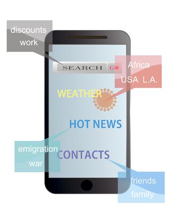 el mundo en tus manos: con un tel�fono inteligente - el mundo entero en sus manos Vectores