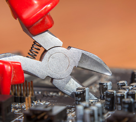 inspection and repair of electronics, background close-up photo
