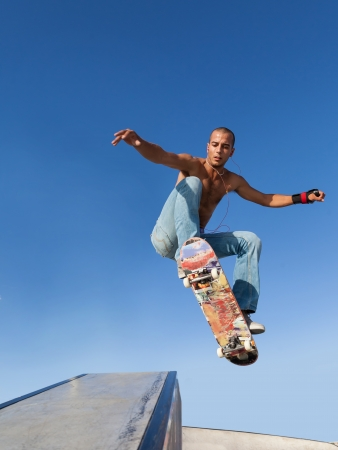 boy flying on a skateboard, sport background