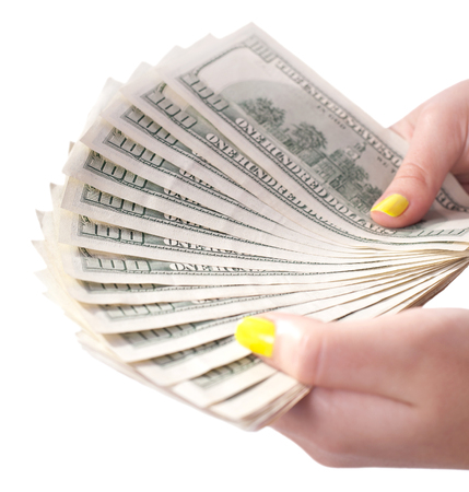 money in hands, isolated white background photo