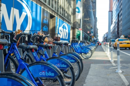 sity: NEW YORKUSA - 24 NOVEMBER 2013: bike hire on the streets of New York day. Sity 24 november USA. Editorial
