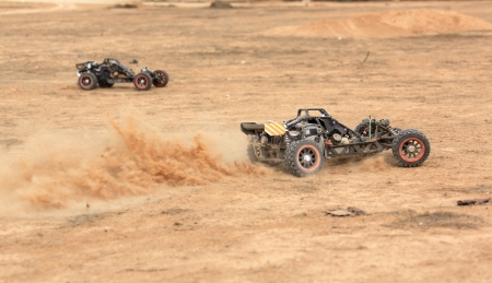 RC buggy race on a desert summer day