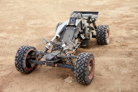 RC buggy in the desert, summer day Stock Photo