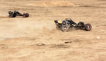 hobby rc buggy race on a desert summer day Stock Photo