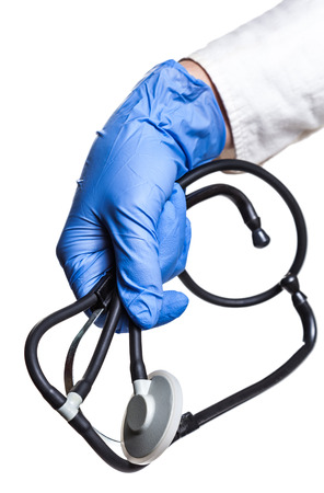 endoscope: medical endoscope arm experienced doctor isolated