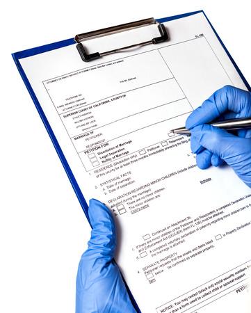 historia clinica: entrada en el registro m�dico, el paciente Foto de archivo
