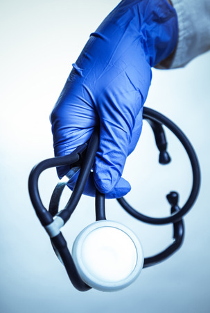 endoscope: endoscope in the hand doctor, hospital therapeutic background