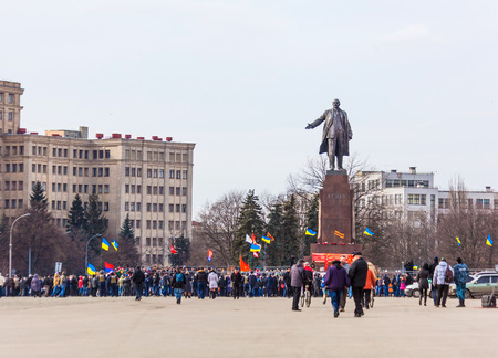 KHARKOV UKRAINE - 23 FEBRUARY 2014  defenders of the Lenin monument in Kharkov   February 23 Ukraine