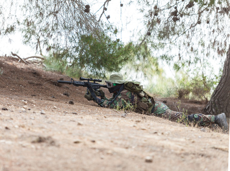 sniper on a mission, the military conflict Stock Photo
