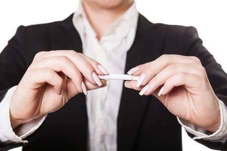 businesswoman a cigarette, isolated white background photo