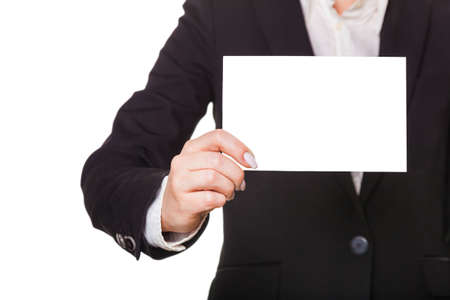 businesswoman showing blank, isolated white  photo