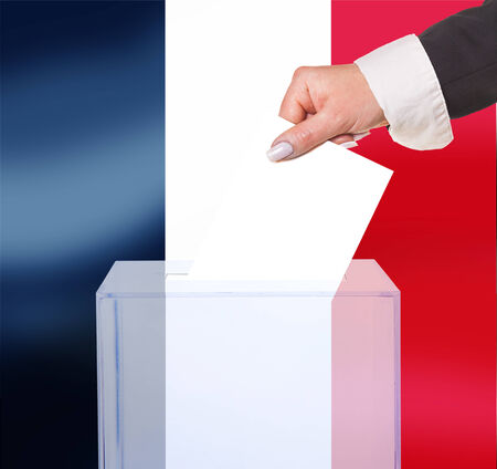 electoral vote by ballot, under the France flag photo