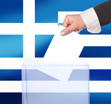 electoral vote by ballot, under the Greece flag photo