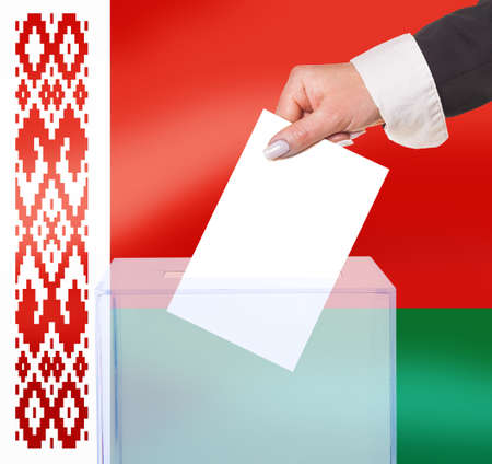 electoral: electoral vote by ballot, under the Belarus flag Stock Photo