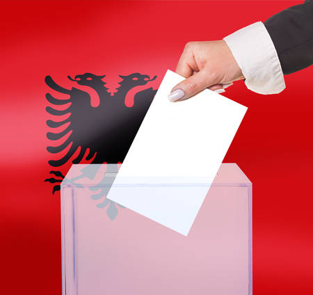 electoral vote by ballot, under the Albania flag photo