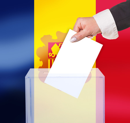 legitimate: electoral vote by ballot, under the Andorra flag Stock Photo