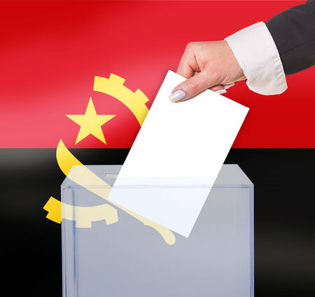 electoral: electoral vote by ballot, under the Angola flag Stock Photo