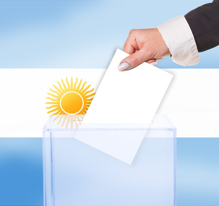 electoral vote by ballot, under the Argentina flag photo