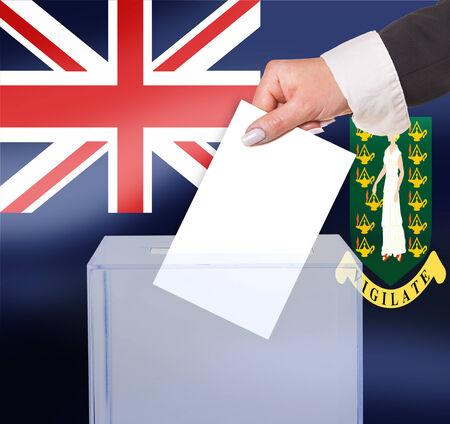 brit: electoral vote by ballot, under the Brit Virgin Islands flag Stock Photo