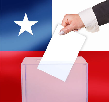 electoral vote by ballot, under the Chile flag photo