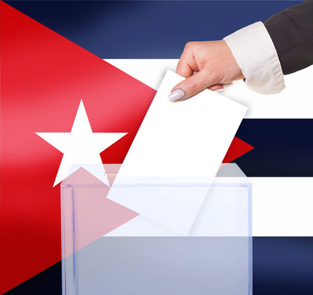 electoral vote by ballot, under the Cuba flag photo