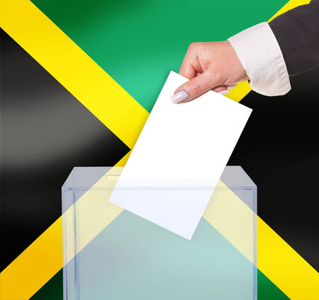electoral: electoral vote by ballot, under the Jamaica flag Stock Photo