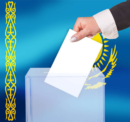 electoral: electoral vote by ballot, under the Kazakhstan flag Stock Photo