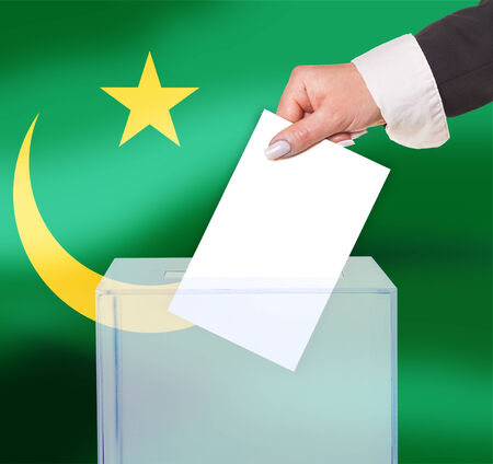electoral vote by ballot, under the Mauritania flag photo