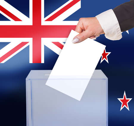 legitimate: electoral vote by ballot, under the New Zealand flag Stock Photo
