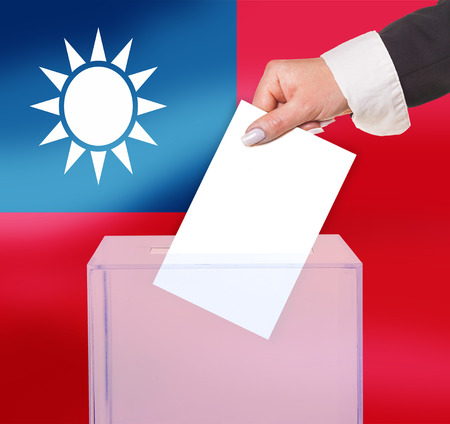 electoral vote by ballot, under the Taiwan flag Stock Photo