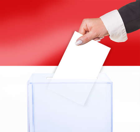 ballot box: electoral vote by ballot, under the Indonesia flag